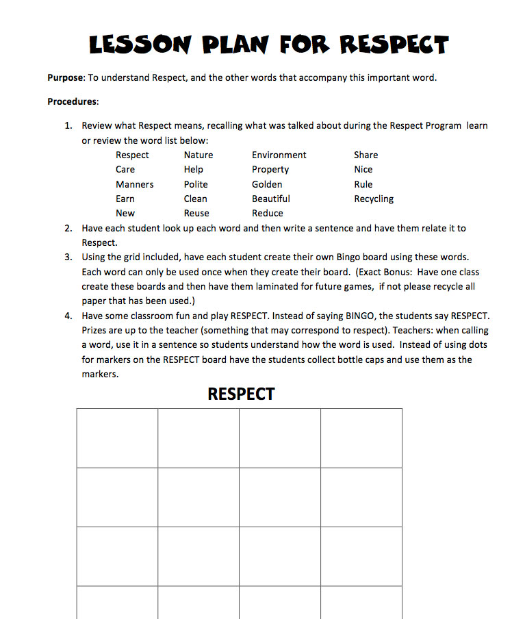 Teaching Children Respect Worksheets Lawteched – Worksheets on Respect